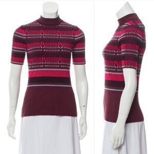 OPENING CEREMONY Short Sleeve Cable Sweater Maroon